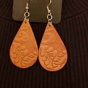 NEW Paparazzi  Brown Leather Embossed Earrings